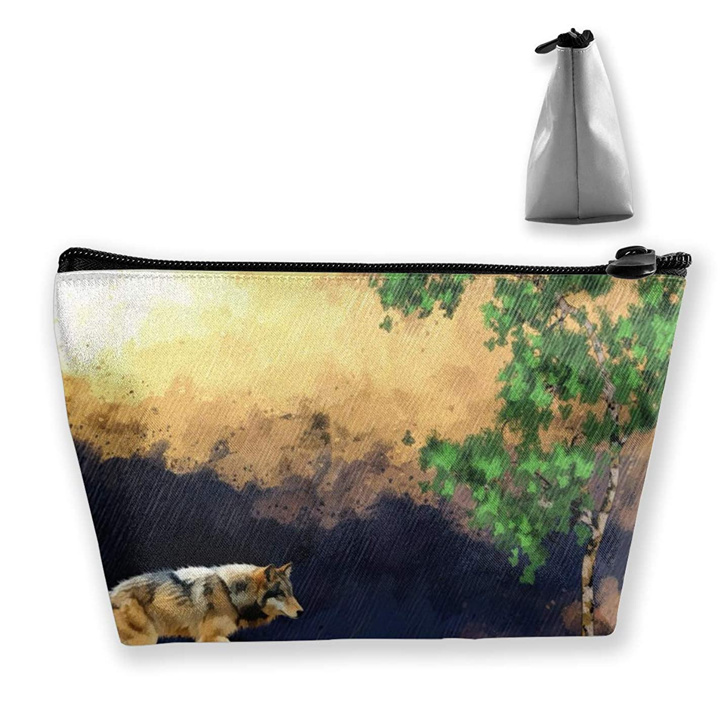 Tiffany N WhitneyRG Women's Travel Makeup Bag Abstract Art Painting Wolf Animal Cosmetic Pouch Multi-Functional Trapezoidal Storage Bag Toiletries Organizer Bag