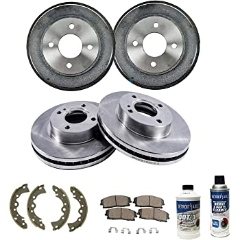 Detroit Axle - All (4) Front Disc Brake Kit Rotors and Rear Brake Kit Drums w/Ceramic Shoes and Pads for 2000 2001 2002 2003 2004 2005 2006 Nissan Sentra 1.8L