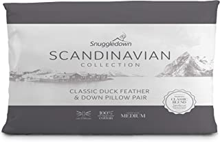 Snuggledown 斯堪的纳维亚 鸭羽毛枕头和羽绒枕头 成对