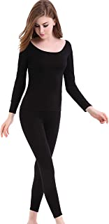 CnlanRow Womens Thermal Underwear Set Ultra Thin Crew Neck Base Layer Stretch Long Johns