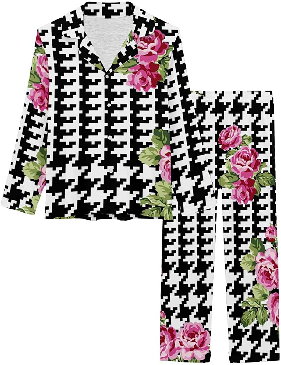 InterestPrint Women's Pajamas Set Long Sleeve with Long Pants XS-XXL Giant Glen Plaid with Roses, Pattern in Custom Colors