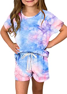 Dokotoo Girls Summer T-Shirt and Shorts Set with Side Pockets