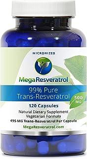 Mega Resveratrol, Pharmaceutical Grade, 99% Pure Isolate, Micronized Trans-Resveratrol, 120 Vegetarian Capsules, 500 mg pe...