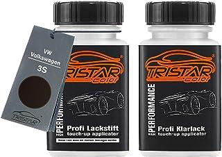 TRISTARcolor Autolack Lackstift Set für VW/Volkswagen 3S Starlight Blue Metallic/Azul Island Metallic Basislack Klarlack je 50ml