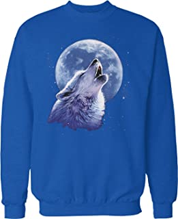 Wolf Howling at The Moon Crew Neck Sweatshirt