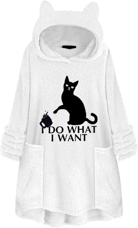 Womens Hoodies Sweatshirt DOG MOM /& Cat Print Long Sleeve Cat Ear Fleece Coat Oversize Pullover with Pocket
