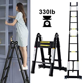 Telescoping Extension Ladder,A-Frame Multi-Purpose Folding Portable Ladder with Hinges and Support Bar Engineering Stairs,330lb Load Capacity for Home Loft Office(Black)