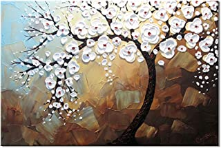 Hand-Painted Oil Painting Art Canvas 3D Texture Palette Knife Abstract Painting Wall Art Picture Ready to Hang (60 * 90cm)...