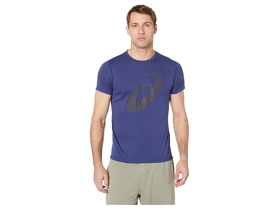 ASICS Run Silver Short Sleeve Graphic 3 Top (Indigo Blue) Men