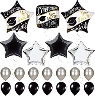 Graduation Party Supplies Black White and Silver - Graduation Balloons for Graduation Decorations - Mylar Foil Helium Balloon for Grady Party,High School - Spells - You did It and Congrats Graduate