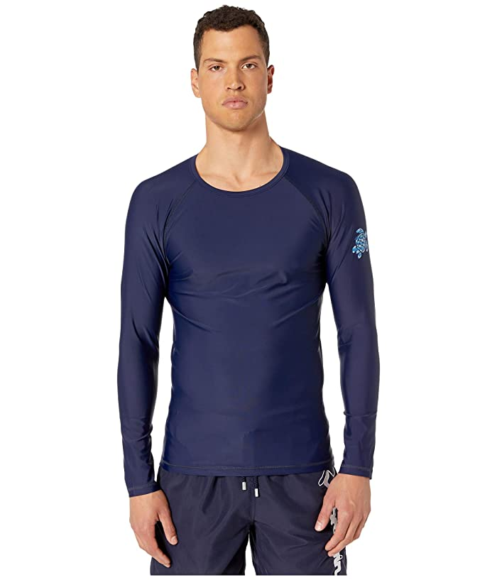 Vilebrequin Takeoff Herringbone Turtles Rashguard (Blue Marine) Men