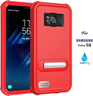 ASAKUKI Galaxy S8 Waterproof Case, IP68 Certified Case, Full Body Protective, Shockproof, Scratch-Proof, Dustproof Case with Built-in Screen Protector for Samsung Galaxy S8 - Red