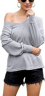 Jedyful Women's V Neck Long Sleeve Off Shoulder Waffle Knit Pullover Sweater Top