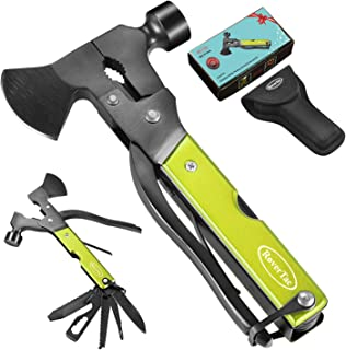 RoverTac Multitool Camping Tool Survival Gear Cool Gift 14 in 1 Multi Tool with Axe Hammer Knife Saw and Sheath