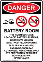 Danger Battery Room This OSHA Safety Label Decal, 5x3.5 in. Vinyl 4-Pack for Process Hazards Restricted Access by ComplianceSigns