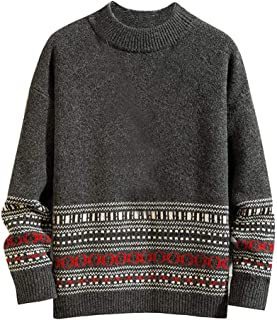HHoo88 Trendy Knitted O Collar Sweater for Men, Top Blouses Winter Warmly Casual Pattern Printed Long Sleeve Sweater