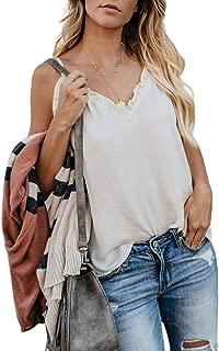 BLENCOT Women's Ruffle V Neck Spaghetti Strap Cami Tank Tops Casual Sleeveless Shirts Blouses