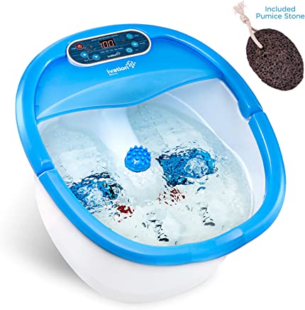 Ivation Foot Spa Massager - Heated Bath, Automatic Massage Rollers, Vibration, Bubbles, Digital Adjustable Temperature Control, 3 Pedicure Attachments