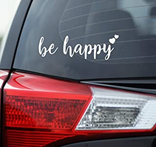 "BKS- Be Happy Stickers Vinyl Decal 7 ""White Styling Decoration for Car Accessories Laptop Wall Tool Box جعبه قابل جدا شدن موتور سیکلت"