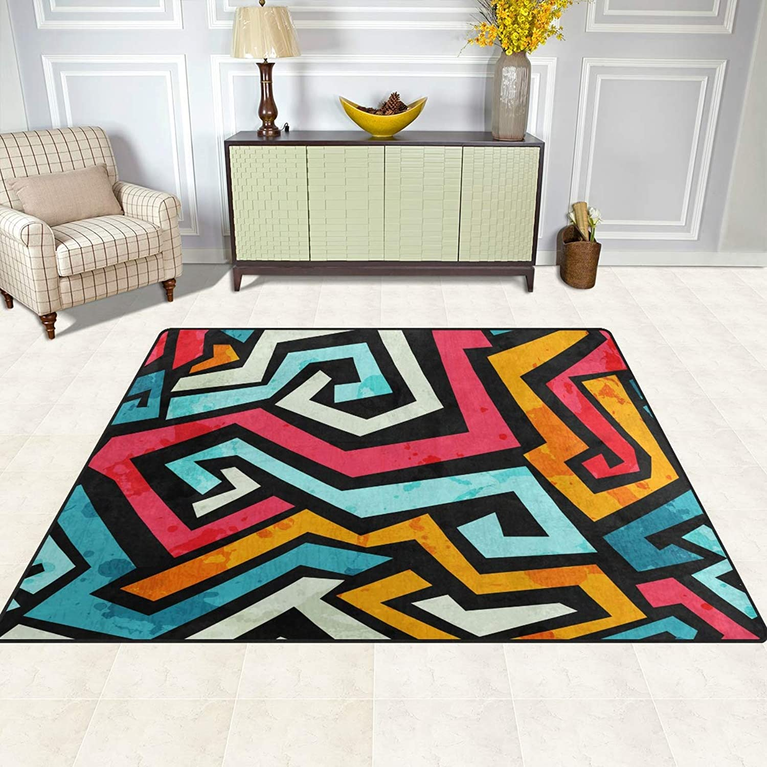 FAJRO Bright Graffiti Rugs for entryway Doormat Area Rug Multipattern Door Mat shoes Scraper Home Dec Anti-Slip Indoor Outdoor
