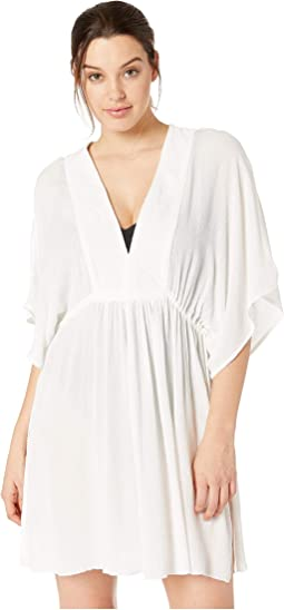 Crinkle Rayon Cover-Up Tunic Dress