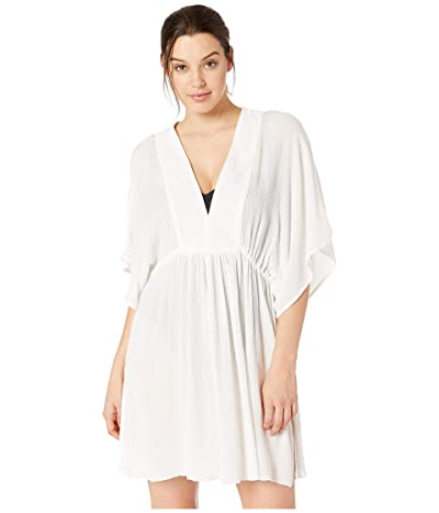 LAUREN Ralph Lauren Crinkle Rayon Cover-Up Tunic Dress (White) Women