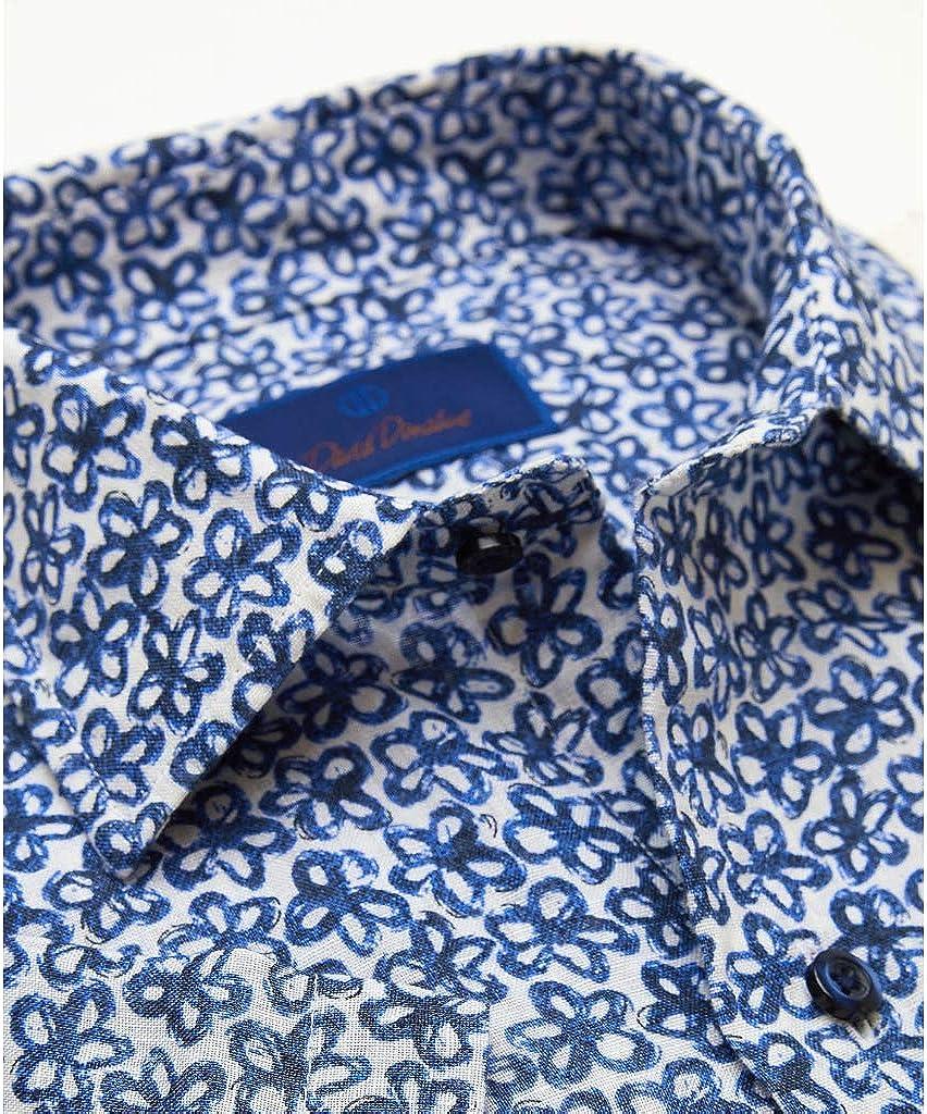 David Donahue Mens Short Sleeve Casual Sportswear Shirt, White/Navy