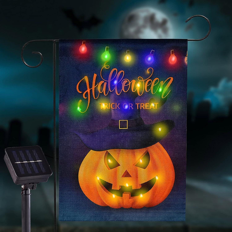 FLAGMESAGE Flashing Happy Halloween Garden Flag, Grimace Pumpkin LED Lighted Flag 12