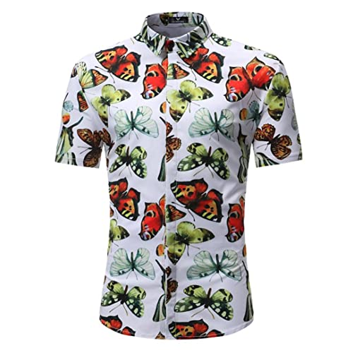 9c7836b2 FNKDOR Summer Man Cool Handsome Beach Surf Retro Floral Printed Blouse  Casual Short Sleeve Slim Shirts