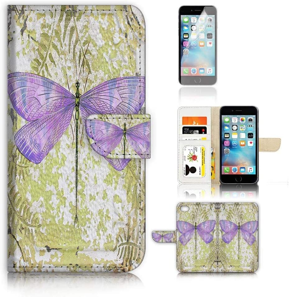 (for iPhone XR) Flip Wallet Case Cover & Screen Protector Bundle - A9397 Dragonfly