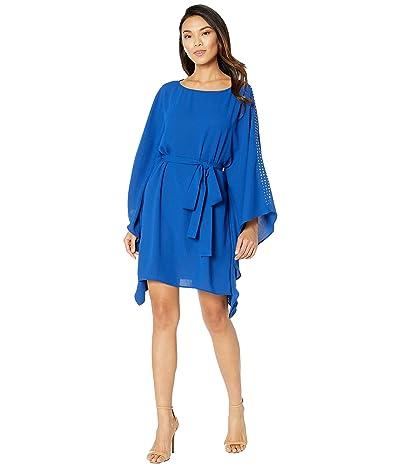 MICHAEL Michael Kors Asymmetrical Embellished Boat Neck Dress (Twilight Blue) Women
