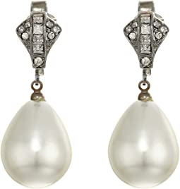 Rhodium/Rhinestone White Pearl Clip Earrings