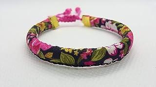 Pulsera Rosa Negro ajustable de cordón con flores rosas