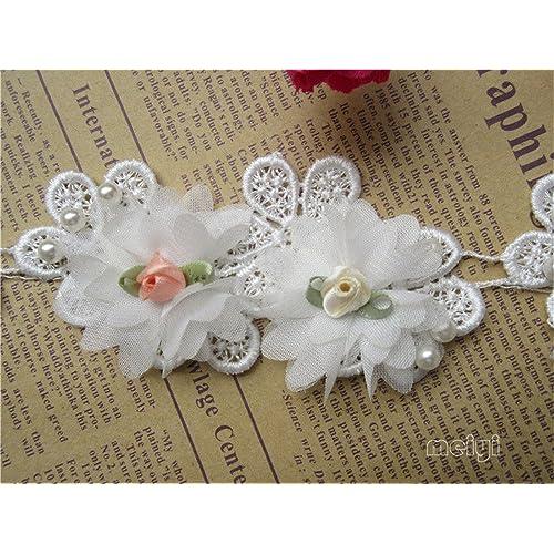 c69b32a9b9e 1 Yard 3D Flower Pearl Lace Edge Chiffon Trim Ribbon 5 cm Width Vintage  Style Cream