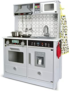 Leomark Cuisine électronique Blanche Cuisine en Bois Chambre Jeux D'imitation Amusant à La Maison Accessoires Grey Modern