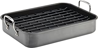 Rachael Ray 87657 Brights Hard Anodized Nonstick Roaster / Roasting Pan with Rack  - 16 Inch x 12 Inch, Gray