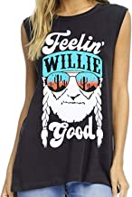 LUKYCILD Women Feelin' Willie Good Print Tank Top Summer Sleeveless Casual Graphic Print Vest Top