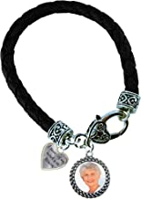 Photo A Piece of My Heart is in Heaven Black Leather Double Rope Circle Charm Bangle Bracelet Upload Your Photo