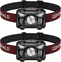 2 Pack of Rechargeable Headlamp, 500 Lumens White Cree LED Head lamp with Red light and Motion Sensor Switch, Perfect for ...