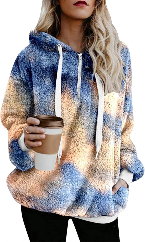 HCNTES Womens Hoodies Long Sleeve Zip Up Pocket Sweatshirt Fleece Tie Dye Pullover Outwear Oversize Coat