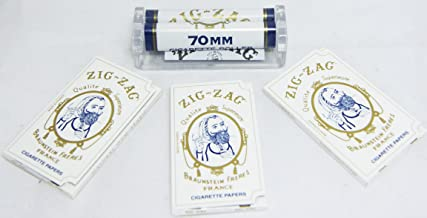 Zig-zag 70mm Single Wide Cigarette Rolling Machine+ Three 32 Leaves Papers, Total 96 Leaves