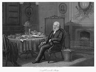 ヘンリー・ワズワース ロングフェロー N(1807-1882) アメリカン・詩人 彼の勉強 スチール 彫刻 1882 Samuel Hollyer作 ポスタープリント (24 x 36)