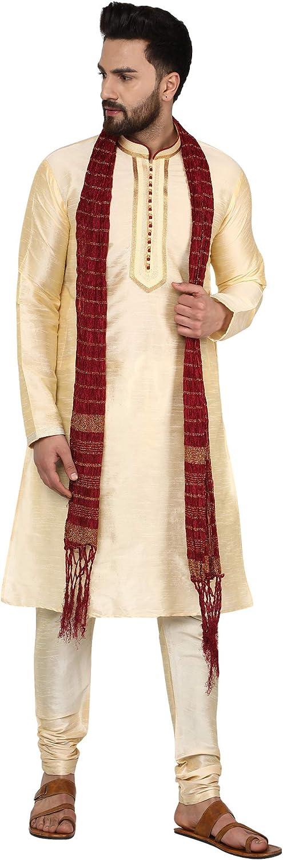 SKAVIJ Men's Art Silk Ethnic Kurta Pajama and Scarf Suit Festivals Season Party Dress Set