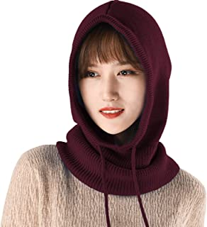 Sponsored Ad - MLEBR Warm Knitted Men Women Scarf Skullies Beanies Hats Neckerchief with Drawstring Hooded