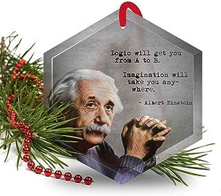 Albert Einstein - Famous Scientists Glass Christmas Ornament