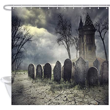 Details about  /Halloween Night Spooky Cemetery Graves Bats Waterproof Fabric Shower Curtain Set
