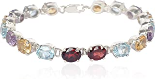 ASHNE JEWELS 925 Sterling Silver Tennis Bracelet Studded With Natural Multi Gemstone For Women