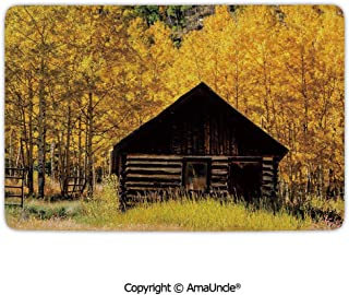 SCOXIXI Personalized Door Mats Rugs,Abandoned Wooden Farmhouse in Fall Aspen Trees Rural Pastoral Nature Scene,W47.2xL35.4 Inches,Easy Clean and Wash,Stylish Home Decor