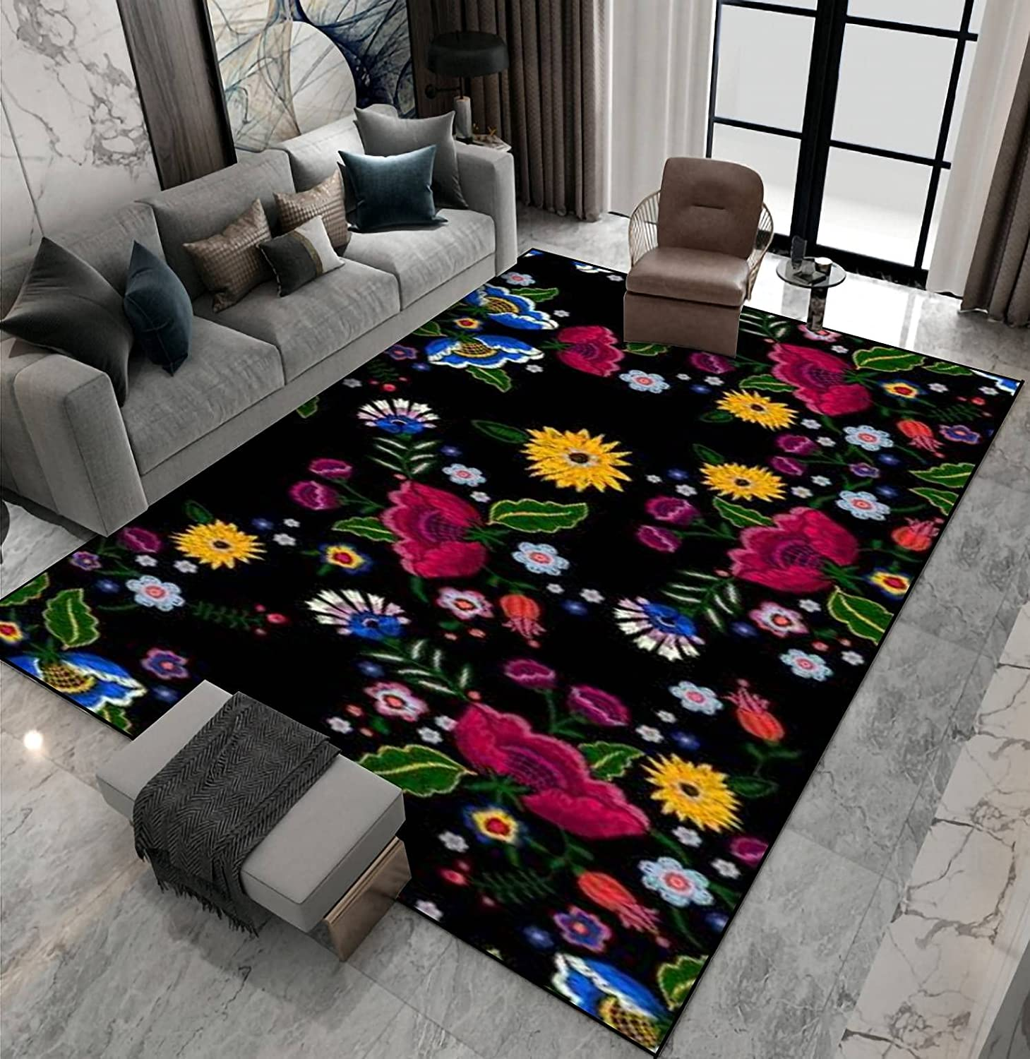 Fort List price Worth Mall Area Rug Non-Slip Floor Mat Seamless Embroidery Native w Pattern