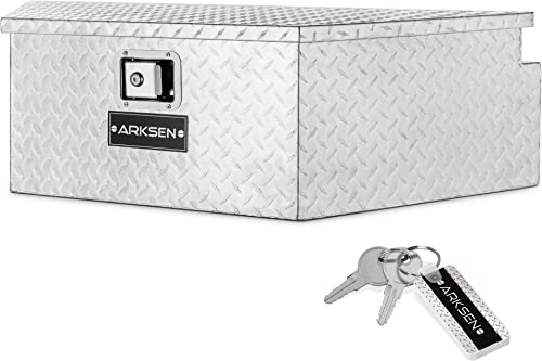 """lowest ARKSEN 39"""" high quality Diamond Plate Aluminum Trailer Tongue Box Pickup lowest Truck Tool Box Storage Organizer With Lock Key, Silver outlet online sale"""